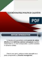 COORDONATELE POLITICII CALITĂŢII