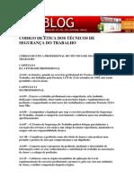 CÓDIGO DE ÉTICA DOS TÉCNICOS DE SEGURANÇA DO TRABALHO
