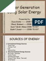 Power Generation Using Solar Energy