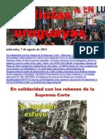 Noticias Uruguayas miércoles 7 de agosto del 2013