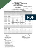 Final Date Sheet Spring 2012