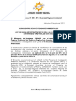 Boletin de Prensa 025 - 2013 II Encuentro Investigadores
