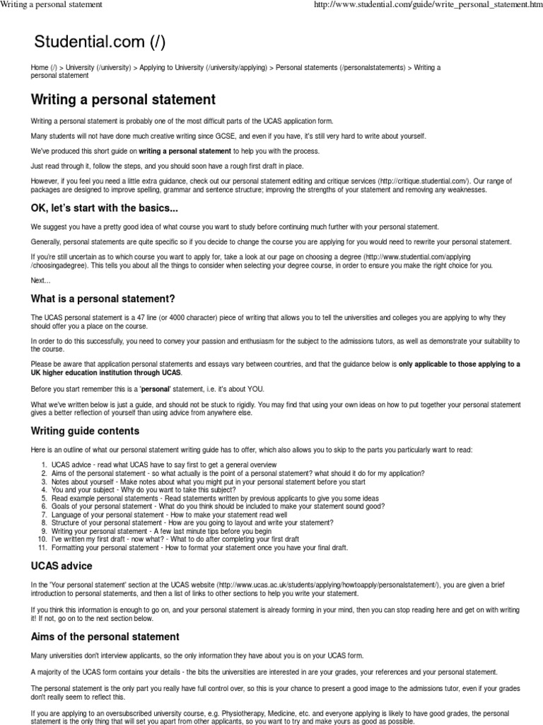 economics personal statement studential