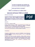 Aplicación TOEIC en la UNAM 2013