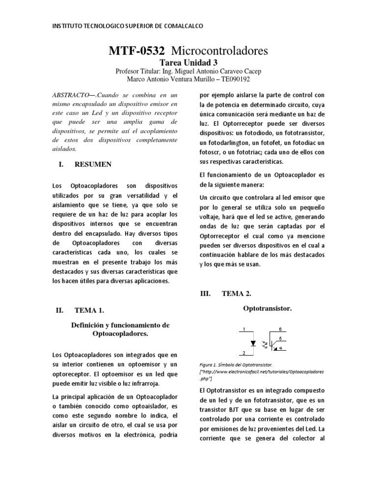 Circuito Optoacoplador : Tarea 3. optoacopladores