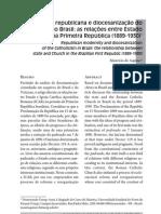 Modernidade republicana e diocesanização do catolicismo no Brasil – as relações entre Estado e Igreja na Primeira República (1889 – 1930)
