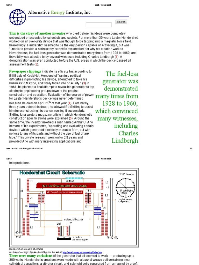 Lester Hendershots Inventions And Schematics Wire Center Hendershot Wiring Diagram Electric Generator Inductor Rh Scribd Com Fuelless Motor