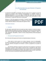 Organización del Menú y Recomendaciones para Orientar el Programa de formación