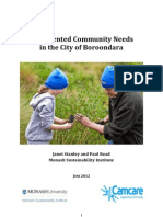 Documented Community Needs in the City of Boroodnara
