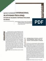 Questionario Internacional de Atividade Fisica- Estudo de Validade e Reprodutividade No Brasil