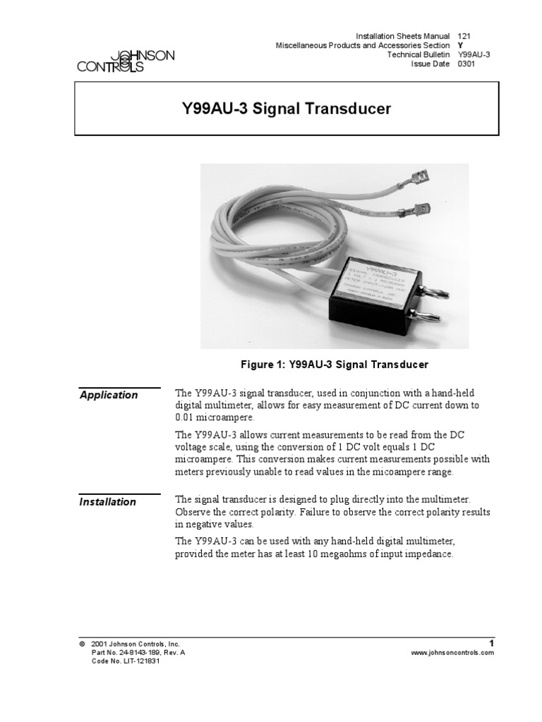 Johnson Controls Y99au 3 Signal Transducer Electronic Engineering Thermostat Wiring Diagram Power Physics