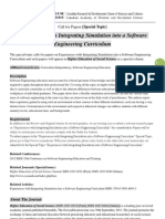 HESS Special Topic-Experiences With Integrating Simulation Into a Software Engineering Curriculum