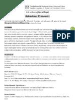 MSE Special Topic-Behavior Economics
