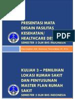 SS-20130805-PPT Course 3- Lokasi Dan Master Plan RS