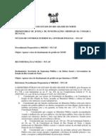 RECOMENDAÇÃO Nº 005 Apurar o risco de desabamento do prédio do CIOSP