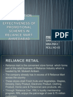 Effectivness of Promotional Schemes in Reliance Mart