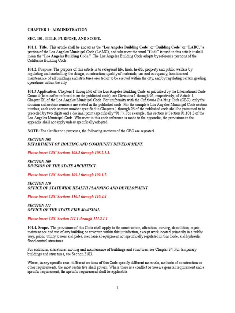 2008 La Amendment For Building Code Building Code Specification