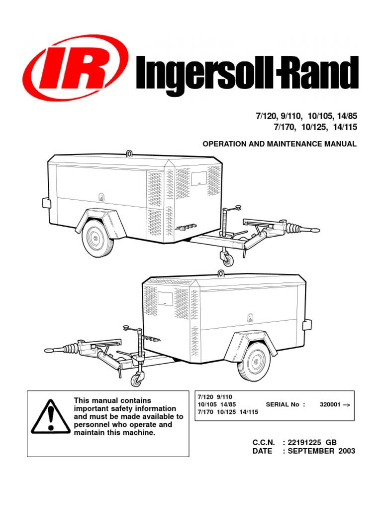 Ingersoll rand Portable Diesel Compressor Operation Manual | Valve |  Trailer (Vehicle)
