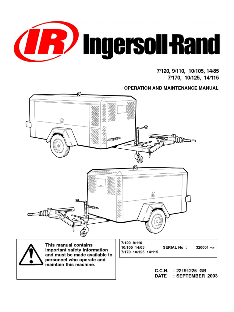 Ingersoll Rand Portable Diesel Compressor Operation Manual Valve Wire Run List And Control Circuits Cont Figure 7 Air Trailer Vehicle