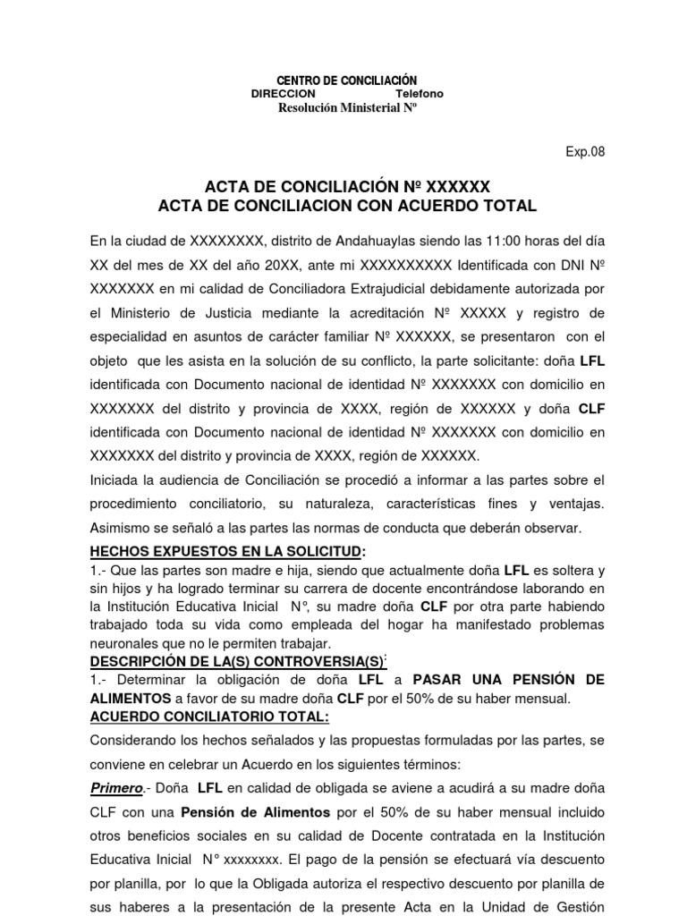 Modelo de acta de conciliacion sobre alimentos para la for Modelo acuerdo extrajudicial clausula suelo