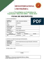 FICHA DE INSCRIPCIÓN 2013