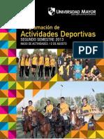 Programación de actividades deportivas Universidad Mayor