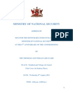 ADDRESS BY SENATOR THE HONOURABLE EMMANUEL GEORGE, MINISTER OF NATIONAL SECURITY, AT THE 8TH ANNIVERSARY OF THE COMMISSIONING  OF THE TRINIDAD AND TOBAGO AIR GUARD