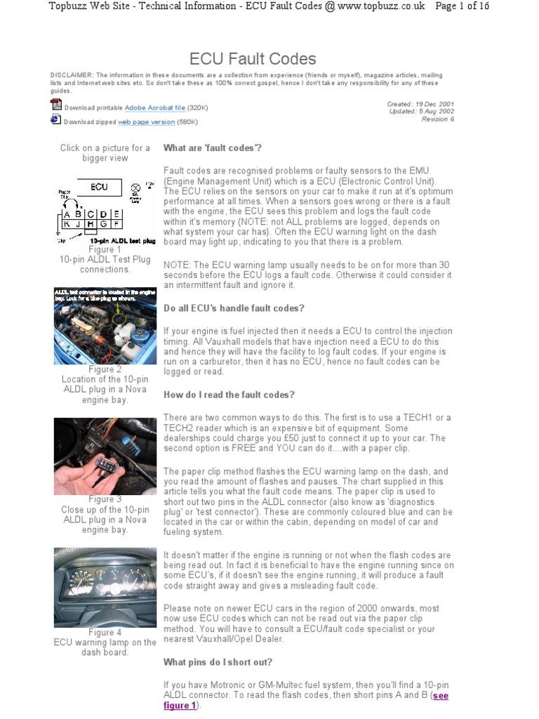 astra fault codes throttle ignition system rh es scribd com 2001 BMW 325I Wiring Diagram ECU Circuits