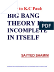 1. Reply to K. C.paul_ Big Bang Theory is Incomplete in Itself