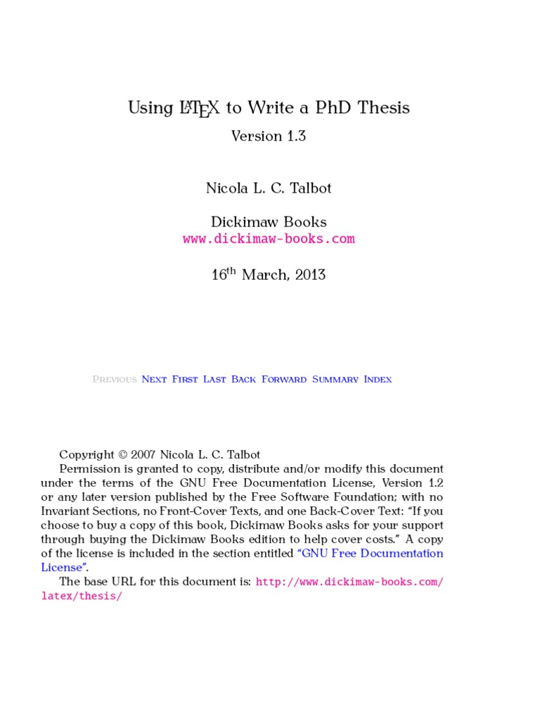Writing phd thesis using latex