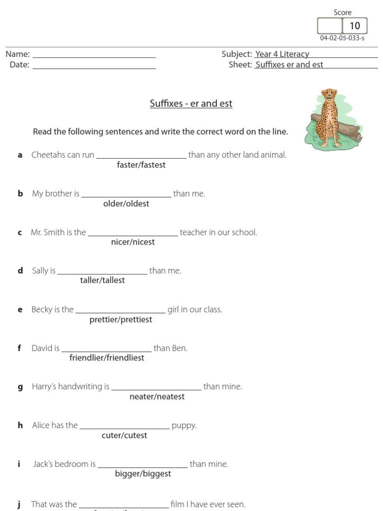 worksheet Er Est Worksheets suffixes er and est grammar worksheet for primaryelementary children