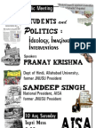 Student and Politics- Ideology, Imaginations and Interventions