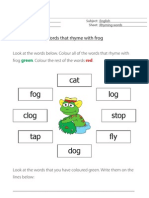 Words That Rhyme With Frog - English resource for primary/elementary children