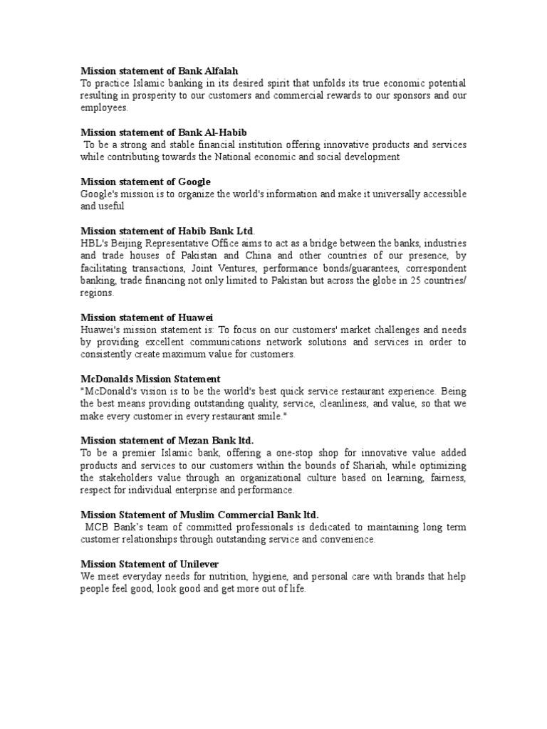 Twenty Pakistani Companies Mission Statement Islamic Banking And