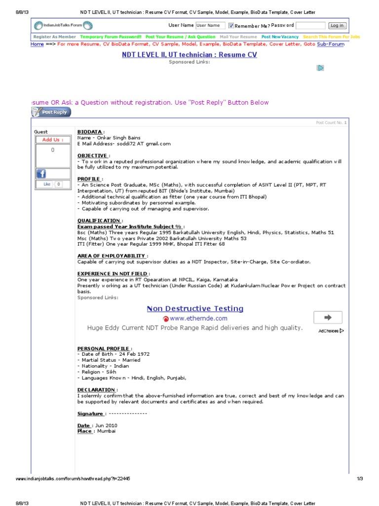 NDT LEVEL II, UT Technician _ Resume CV Format, CV Sample, Model ...