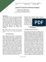 Performance Comparison of Various Face Detection Techniques