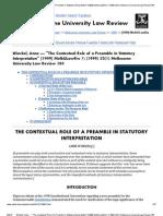 Winckel, Anne --- _The Contextual Role of a Preamble in Statutory Interpretation_ [1999] MelbULawRw 7; (1999) 23(1) Melbourne University Law Review 184