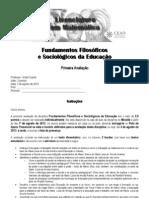 FFSE - avaliacao 1 2013-1