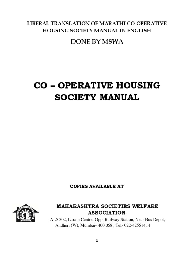 housing manual - english - mswahousing | ownership | cooperative