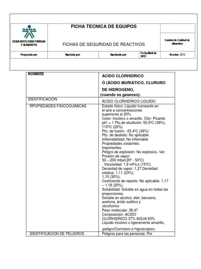 New Burn Nc >> Ficha Tecnica Del Acido Clorhidrico