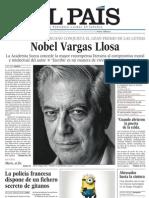 El Pais 071010 Vargas Llosa Nobel