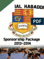 IC Kabaddi 2013 Sponsorship Dossier Final