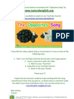Opposites Song FREE Activity eBook