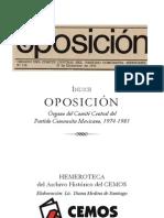 OPOSICIÓN, Órgano del Comité Central del Partido Comunista Mexicano, 1974-1981