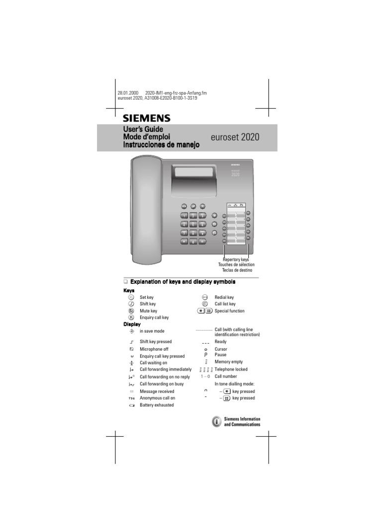 Siemens euroset 2020 manual.