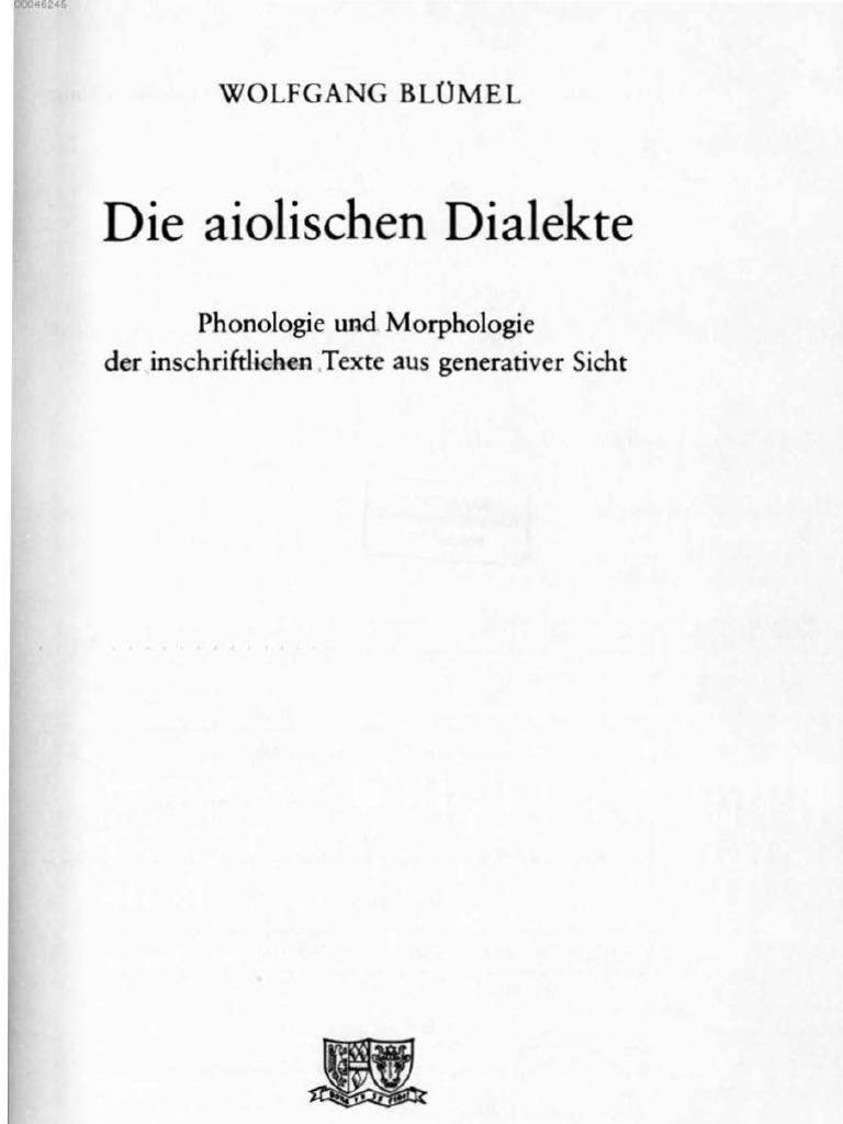 Die Aiolischen Dialekte