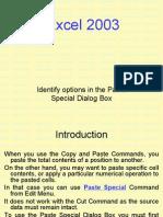 Excel 2003 Paste Special Dialog Box