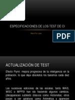 Especificaciones de Los Test de Ci