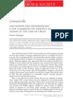Dalakoglou D 2013 Neo-Nazism and Neoliberalism. in WorkingUSA.vol 16(2)