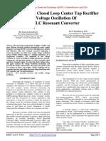 Analysis On Closed Loop Center Tap Rectifier Voltage Oscillation Of LLC Resonant Converter